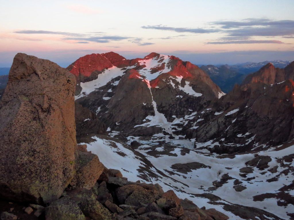 Sunrise from the top of Windom Peak looking into Chicago Basin.
