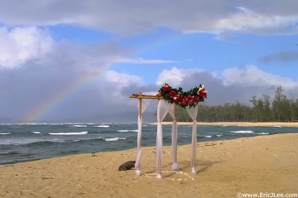 Hawaii wedding, complete with post-ceremony rainbow. Congrats Monica and Aileen!