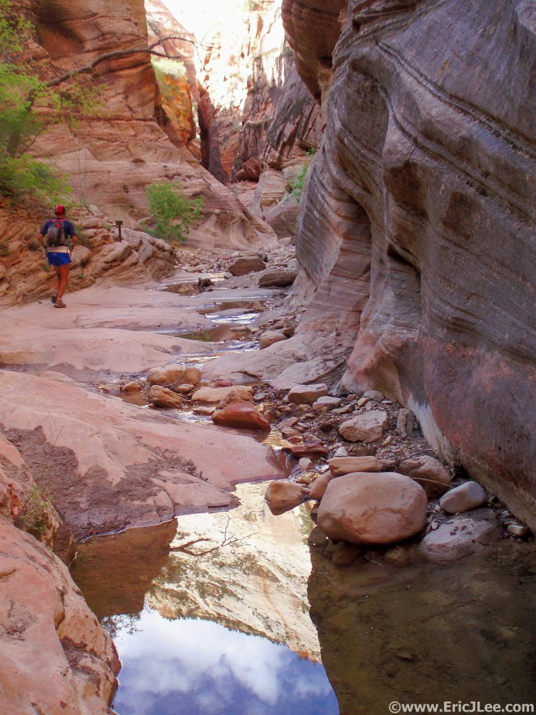 Cruising up the trail out of the Virgin River in the middle of the Zion Traverse (May 2009)