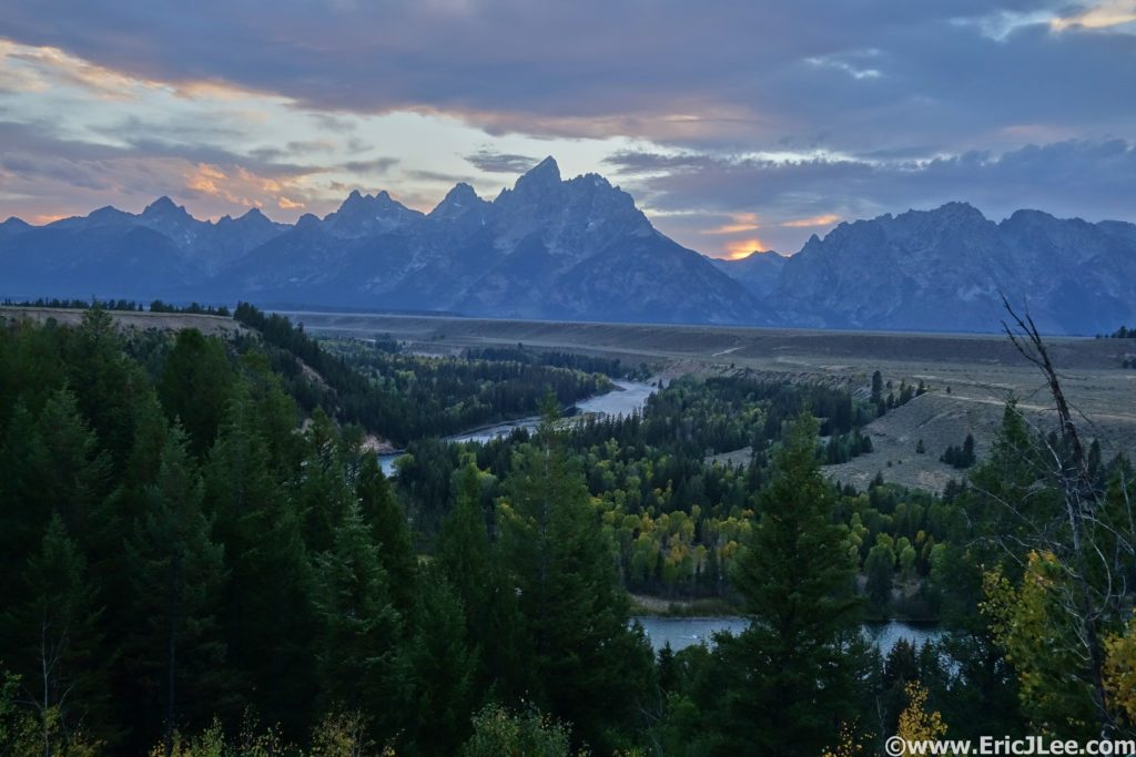Sunset on the Tetons with a little smoke hanging in the air 9/11/16.