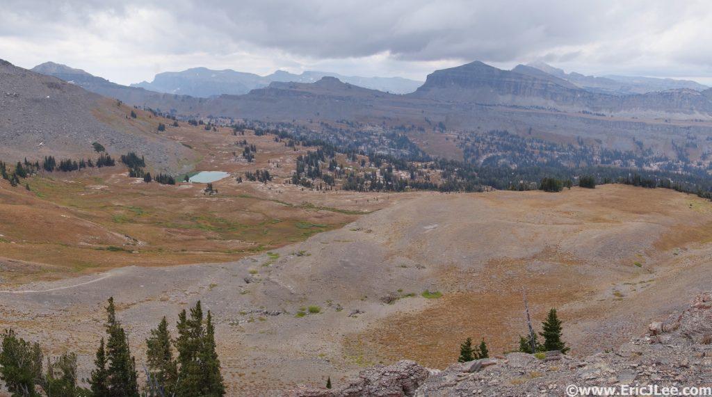 Looking back into Alaska Basin and at Sunset Lake, 9/12/16.