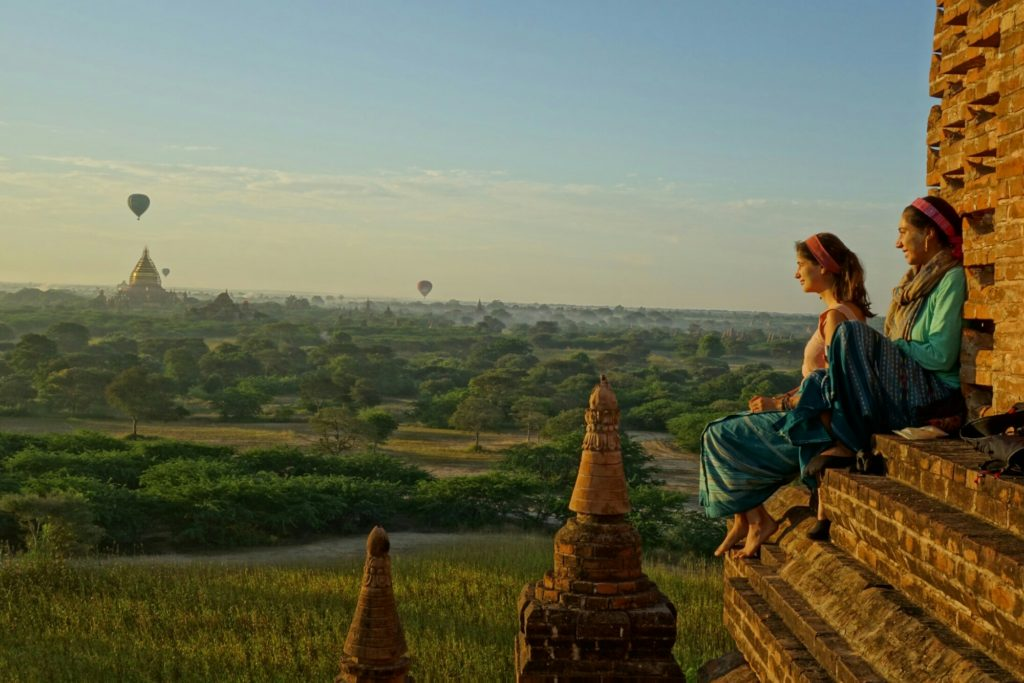 Enjoying sunrise over Bagan with new friends.