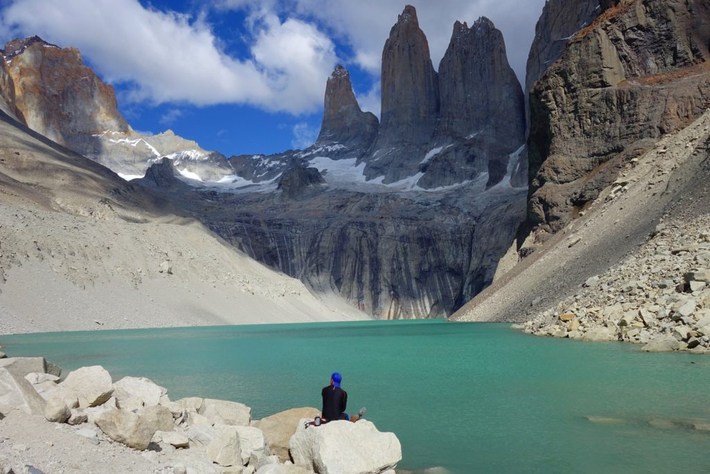Marveling at the Torres, in Torres del Paine Parque Nacional.