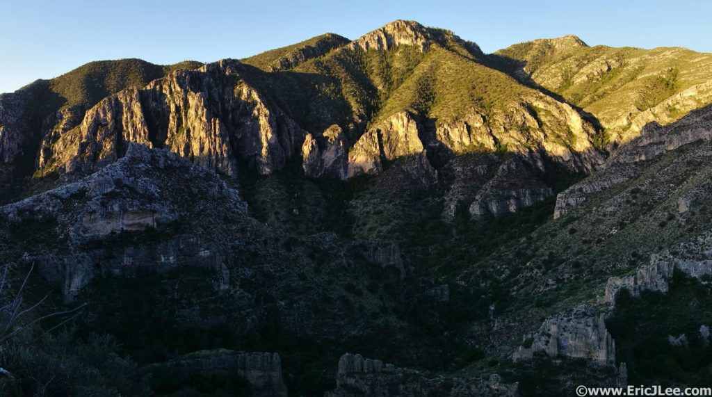 Sunrise on Guadalupe Peak from the Tejas Trail.